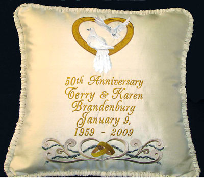 shimmering anniversary pillow