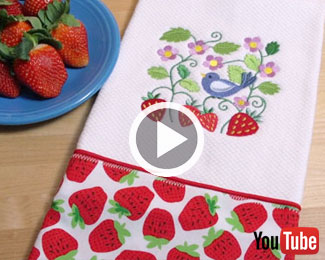 Embroidery Library's new video with instructions for making a let's dish kitchen towel.