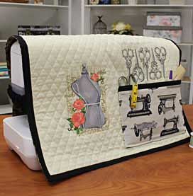 Free project instructions for embroidering a sewing machine cover.