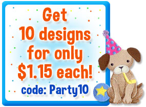 A coupon for machine embroidery desgins.