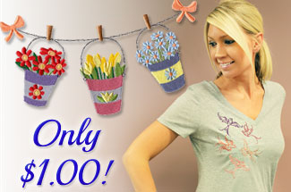 Select machine embroidery designs perfect for t-shirts are on sale for only $1 each!