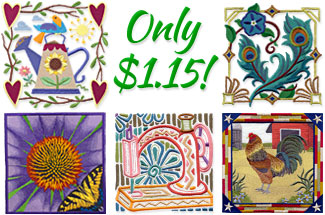 Select square machine embroidery designs are on sale for only $1.15 each!