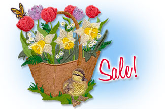 Select Spring and garden designs for machine embroidery are on sale for only $1.29 each!