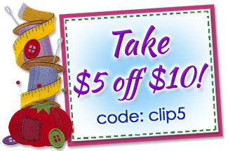 Take $5 off $10 using a coupon for machine embroidery designs!