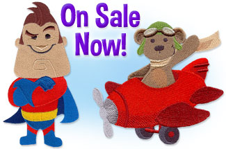 Select baby and children designs for machine embroidery are on sale for only $1.23 each!