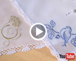 Embroidery Library's new video with instructions on how to embroider on handkerchiefs.