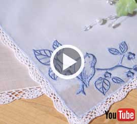 Embroidery Library's new video with instructions for embroidering on handkerchiefs.