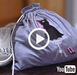 Embroidery Library's new video with instructions on how to create an embroidered velvet shoe bag.