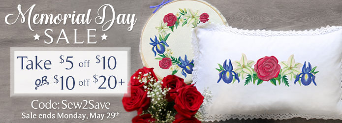 Embroidery Library - Memorial Day Coupon