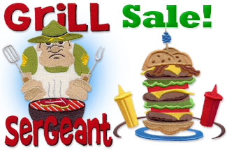 Select grilling and guy embroidery designs are on sale for only $1 each!