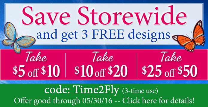 Save Storewide at Embroidery Library!