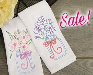 Select machine embroidery designs are on sale now for only $1.16 each!