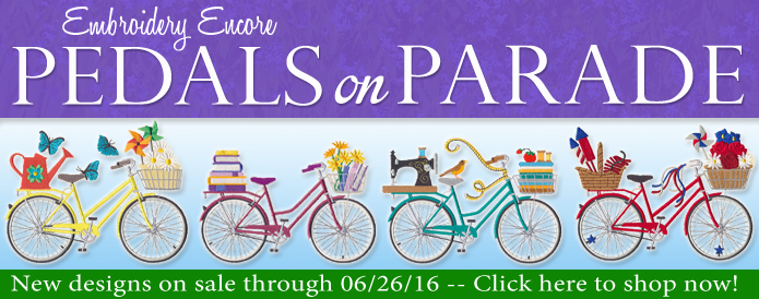 New Pedals on Parade machine embroidery designs are only $1.16 each!