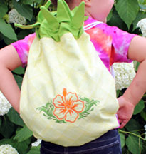 Free project instructions to create a Pineapple Back Pack