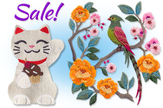 Select elegant Asian embroidery designs are on sale for only $1.29 each!