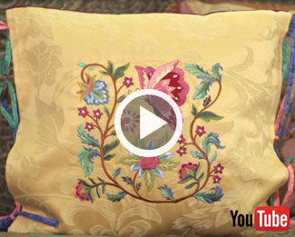 Embroidery Library's new video with instructions on how to create an embroidered tie-on pillow sham.