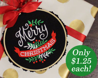 Select machine embroidery designs are on sale now for only $1.25 each!