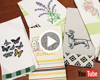 Embroidery Library's video with instructions on how to embroider on tea towels.