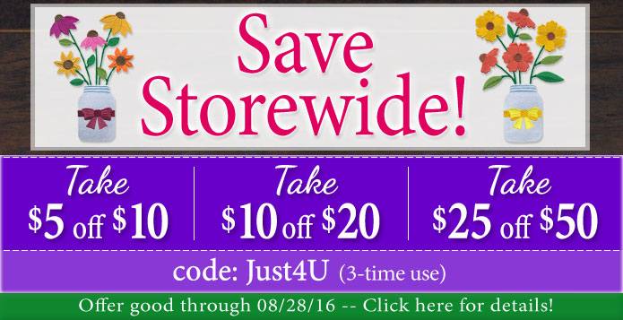 Embroidery Library - Storewide Coupon!