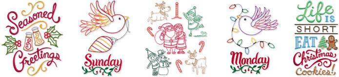 New Christmas machine embroidery designs are only $1.25 each!