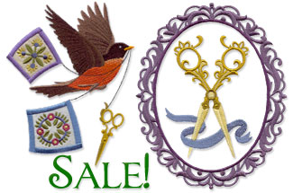 Select crafty machine embroidery designs are on sale for only $1.25 each!