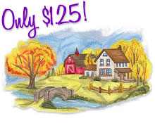 New vintage autumn designs for machine embroidery are only $1.25 each!