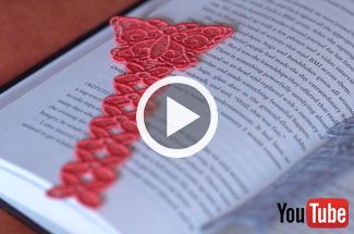 Embroidery Library's new videos for embroidering lace bookmarks.