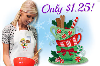 Select sweet Christmas designs for machine embroidery are on sale for only $1.25 each!