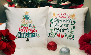 New Christmas whimsy designs for machine embroidery are only $1.25 each!