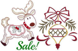 Select quick stitching Christmas designs for machine embroidery are on sale for only $1.25 each!
