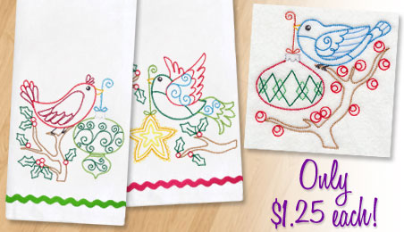New quick-stitch Christmas designs for machine embroidery are only $1.25 each!