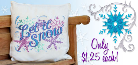 New winter wonderland designs for machine embroidery are only $1.25 each!