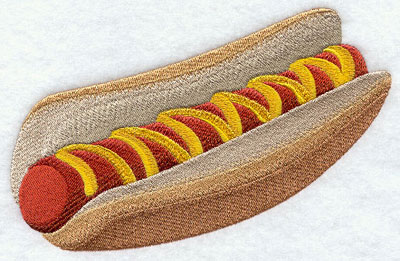 A fresh bun holds a delicious hot dog, covered in mustard.