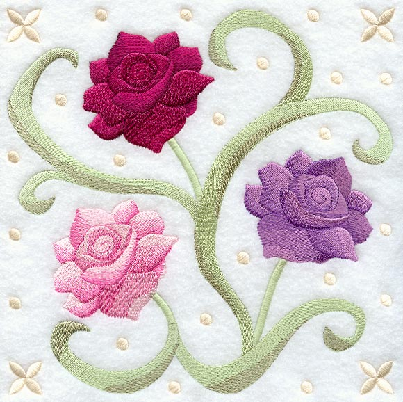 Design embroidery english garden rose embroidery origami for Garden embroidery designs free