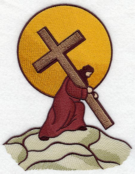 Jesus carrying cross silhouette