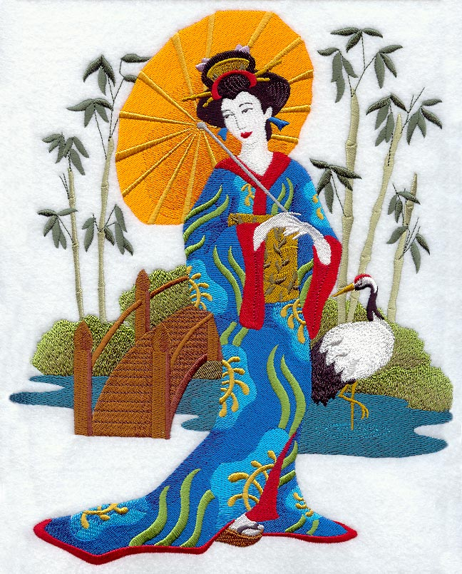 Garden Embroidery Designs sue box creations download embroidery designs 17 garden scene a Geisha In Japanese Garden