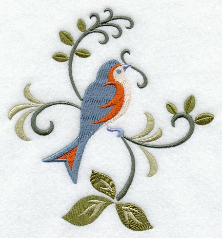 Graceful Bluebird and Vines