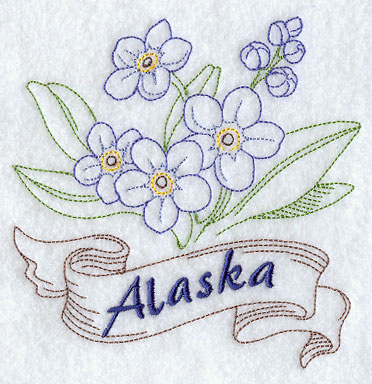 Alaska Forget Me Not Redwork