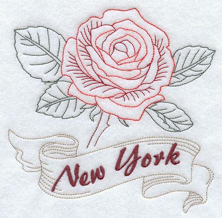 New York Rose Redwork