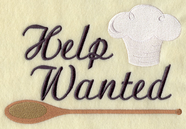 A Humorous Kitchen U0027Help Wantedu0027 Sign Machine Embroidery Design. Part 58
