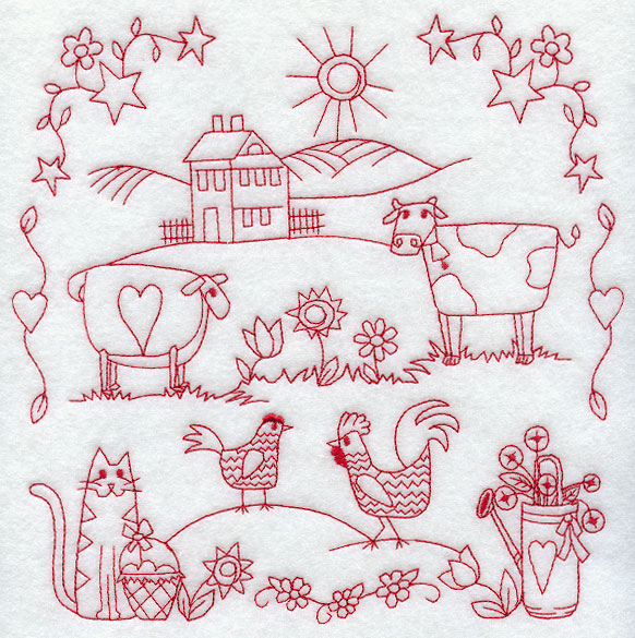 Embroidery patterns redwork machine