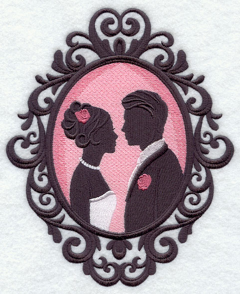 a bride and groom silhouette in a cameo frame machine embroidery design
