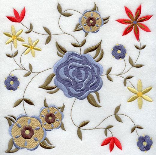 German folk art machine embroidery designs flowers touching