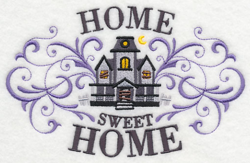 A Haunted House With The Text Home Sweet Home Welcome Ghosts And Goblins To Your Home With This Design On A Door Hanger