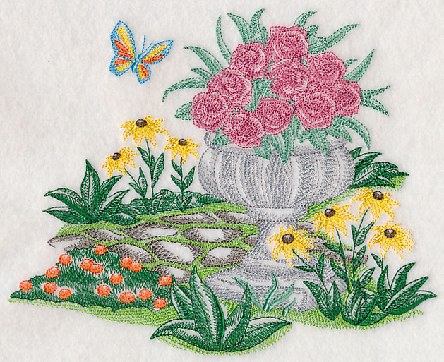Garden Embroidery Designs machine embroidery designs at embroidery library color change g3520 bees in garden 11813 A Beautiful Garden Scene Is A Gorgeous Addition To Any Project Toile Designs Have Light Stitches And Open Areas That Allow The Fabric To Show Through