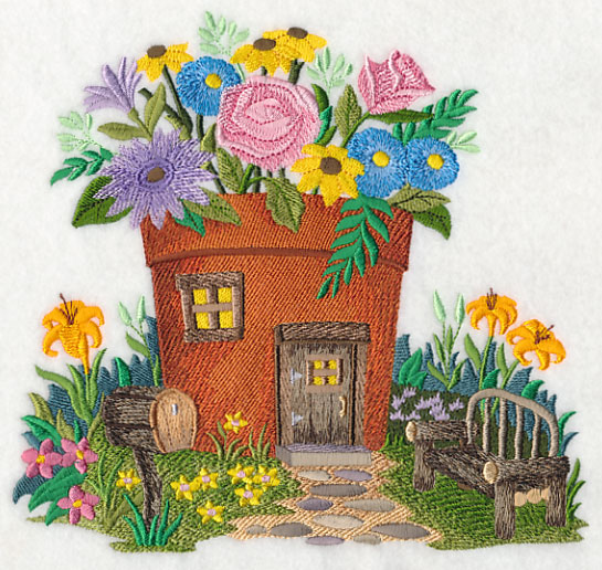 Garden Embroidery Designs teddy bear on the bench in the garden machine embroidery design Fairy Garden House