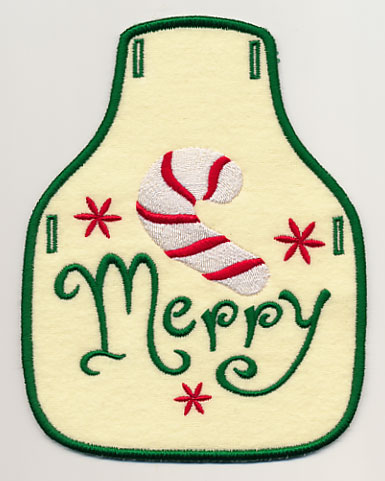 Merry with Candy Cane Bottle Apron (In-the-Hoop)