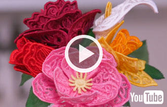 Free project instructions to create 3D Freestanding Lace Flowers.