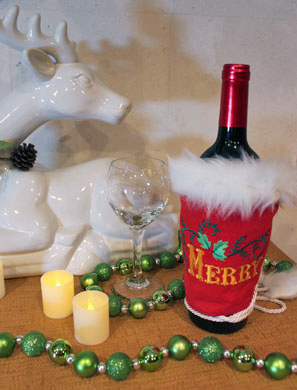 Free project instructions to make a Wine Bottle Wrap