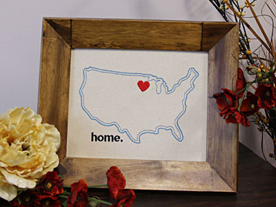 Free project instructions for framing embroidery.